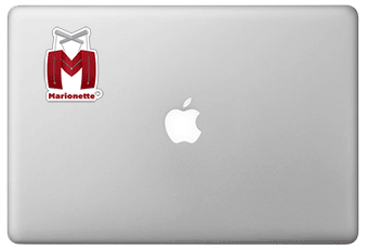 Marionette sticker on a MacBook laptop